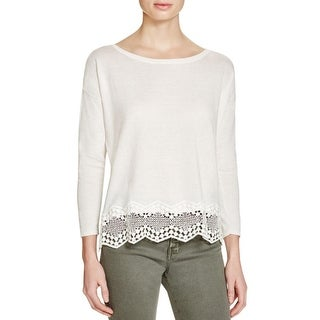 Joie Womens Pullover Top Silk Crochet Trim