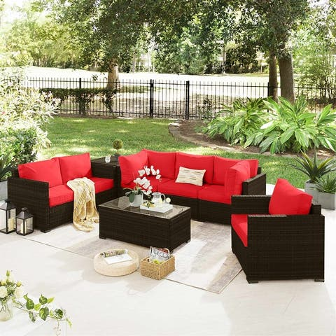 8 PCS Outdoor Patio Furniture Set with Coffee Tables, Wicker Rattan Sectional Sofa Set (Brown Base)