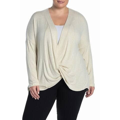 Bobeau Women's Plus Twist Front V-Neck Tunic Sweater