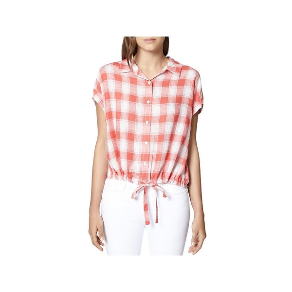 Sanctuary Womens Button-Down Top Linen Cuff Sleeves