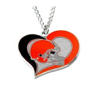 NFL Cleveland Browns Swirl Heart Necklace