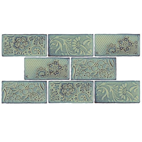 SomerTile 3x6-inch Antiguo Feelings Agua Marina Ceramic Wall Tile (32 tiles/4.38 sqft.)