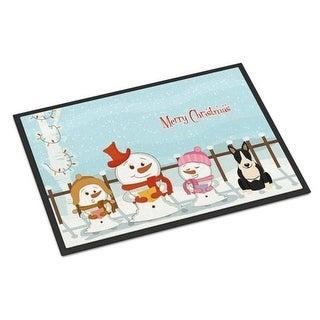 Carolines Treasures BB2464JMAT Merry Christmas Carolers Bull Terrier Black White Indoor or Outdoor Mat 24 x 0.25 x 36 in.