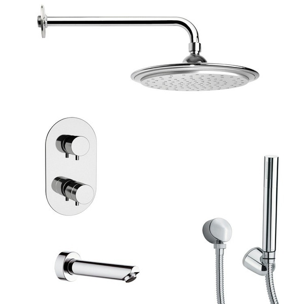 Nameeks TSH4407 Remer Shower Tub and Shower Trim Package with Single Function Rain Shower head and Hand Shower - Chrome