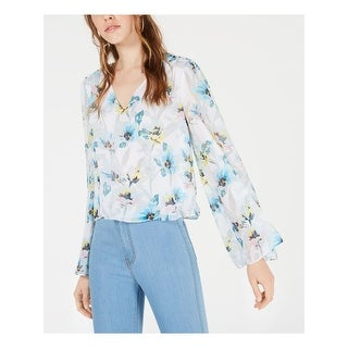 BAR III Womens Blue Floral Bell Sleeve V Neck Blouse Top  Size XL