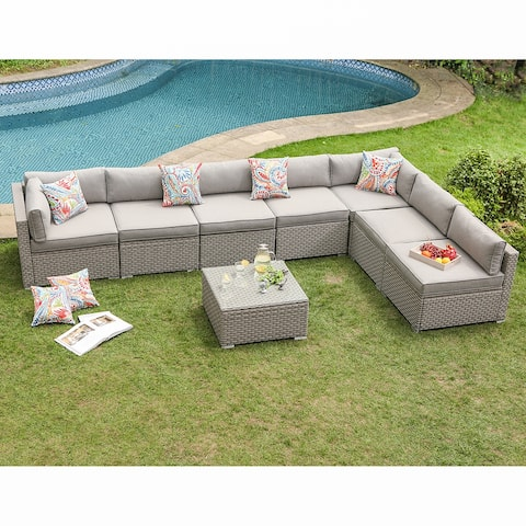 COSIEST 8-Piece Gray Wicker Outdoor Furniture Set w/ cushions