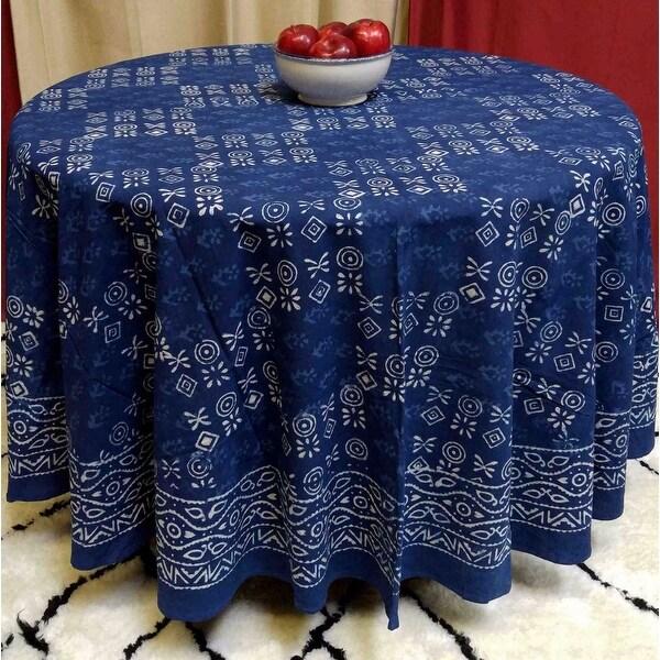 Trend Shake 40 Indigo Home Décor Ideas: Shop Cotton Hand Block Print Tablecloth Round 88 Inches