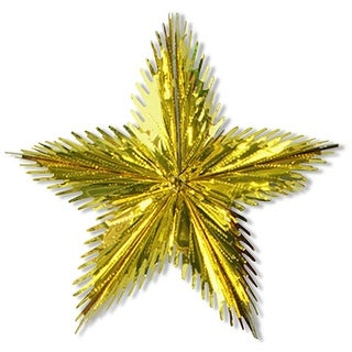 """Club Pack of 12 Metallic Gold Hanging Leaf Starburst Party Decorations 16"""""""