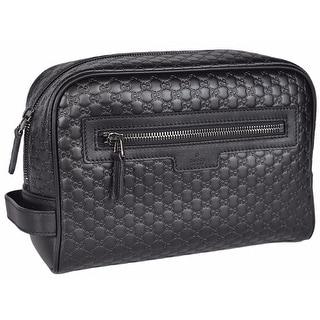 Gucci Men's 419775 Black Leather Micro GG Guccissima Large Toiletry Dopp Bag