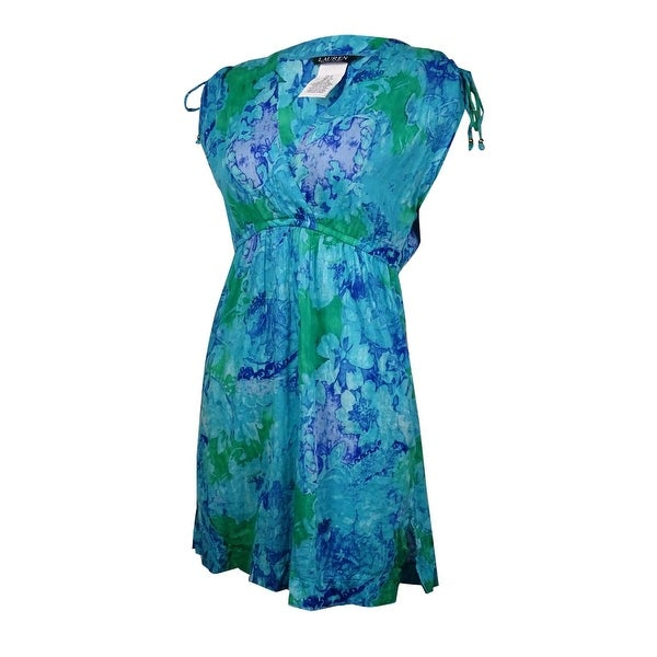 da1f782a9d154 Shop Lauren Ralph Lauren Women's Paisley Marble Swim Cover (M, Blue) - Blue  - M - Free Shipping On Orders Over $45 - Overstock - 15093886