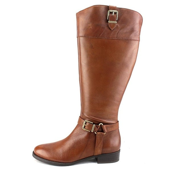 INC International Concepts Womens Fedee Leather Closed Toe, Cognac, Size 5.0