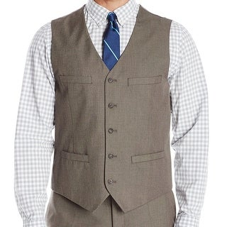 Perry Ellis NEW Brown Mens Size Small S Five-Button Four-Pocket Vest