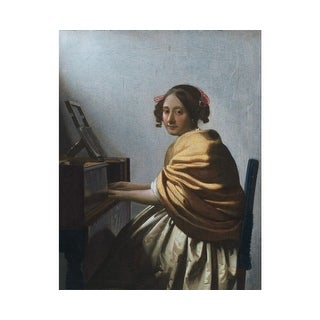 Easy Art Prints Johannes Vermeer's 'A young woman seated at the virginal' Premium Canvas Art
