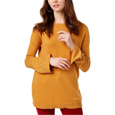Michael Kors Womens Studded Cuffs Pullover Sweater, Yellow, Large