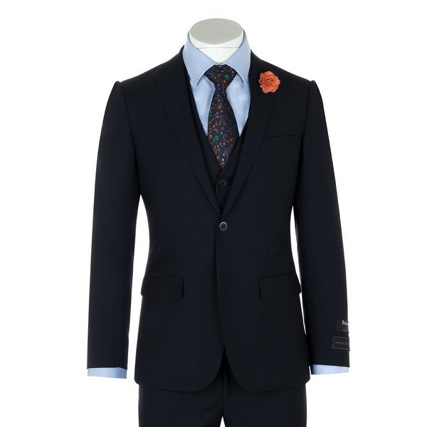 Shop Sienna Navy Blue Slim Fit Suit Amp Vest By Tiglio Luxe