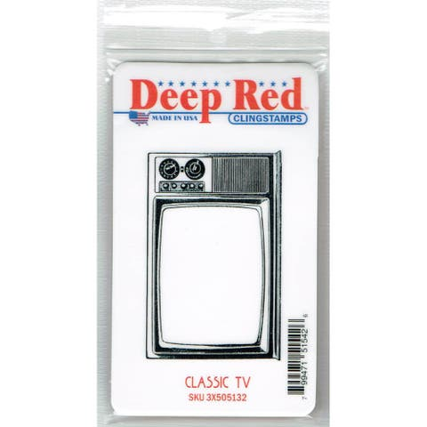 Deep Red Stamps Classic TV Rubber Cling Stamp - 3.1 x 2