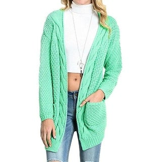 Open Front Long Sleeve Casual Cable Knit Chunky Cardigan Sweaters for Women