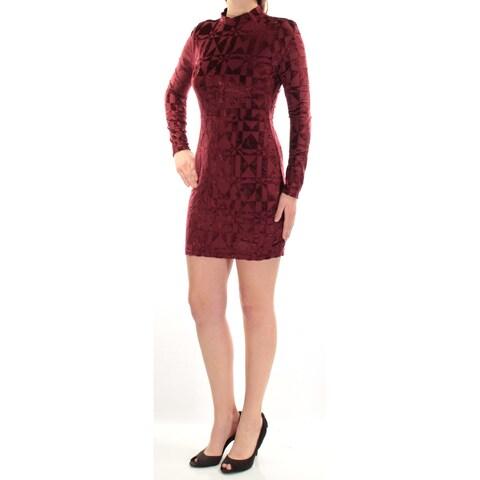 Womens Burgundy Long Sleeve Mini Sheath Cocktail Dress Size: M