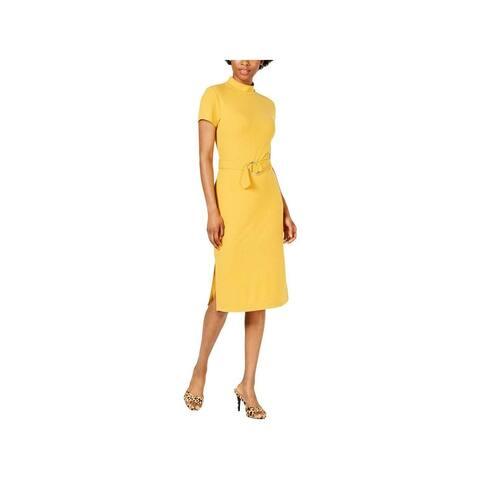 ULTRA FLIRT Womens Yellow Short Sleeve Midi Sheath Dress Size XS