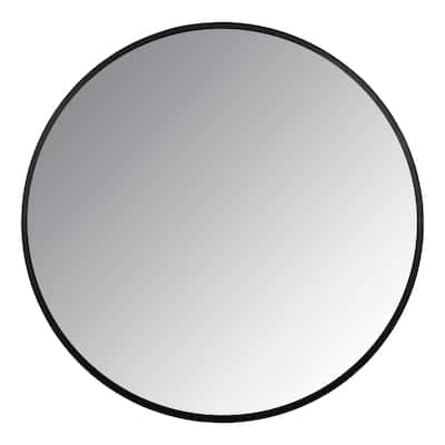 Stratton Home Decor Adriana Black Round Wall Mirror