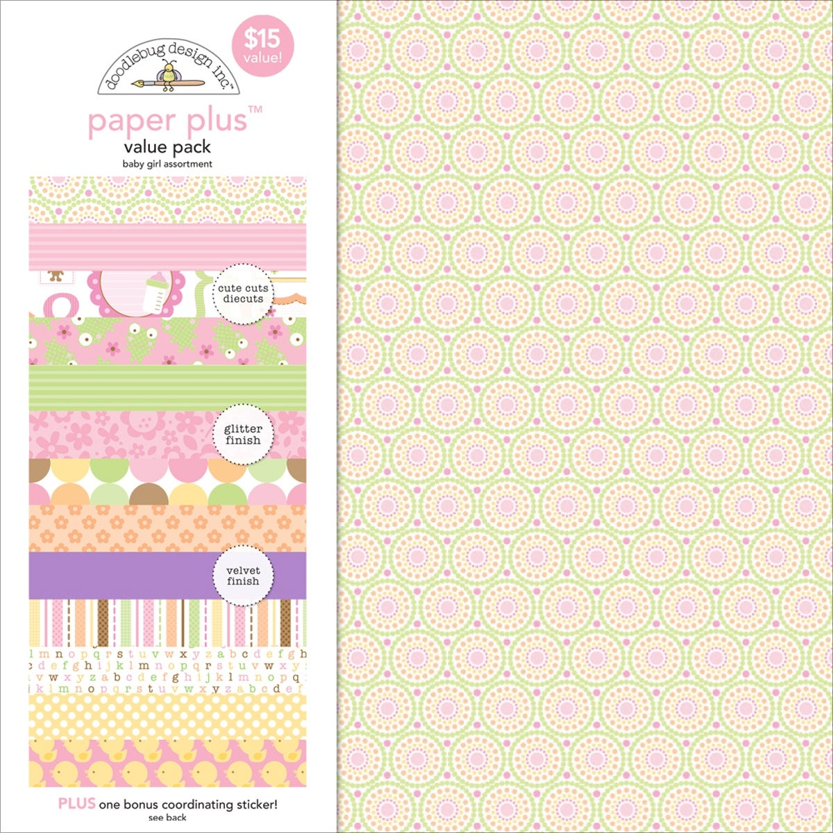 "Doodlebug Paper Plus Value Pack 12/""X12/"" 8//Pkg-Baby Girl"