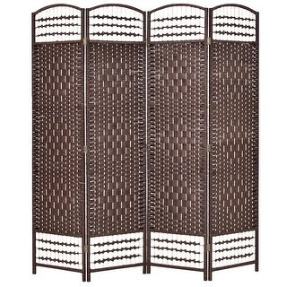 Costway 67'' Folding Woven Room Divider 4 Hinged Panel Privacy Screen Freestanding Brown