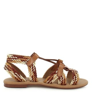 Ceresnia Adult Tan Braided Strap Open Toe Lace-Up Trendy Sandals