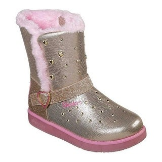 Skechers Girls' Twinkle Toes Glitzy Glam Sparkle Hearts Boot Gold/Pink