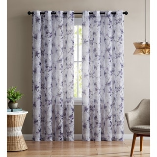 Jasmine Floral Printed Sheer Grommet Panel, Purple, 54x90 Inches