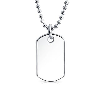 Bling Jewelry Childrens Classic Petite .925 Sterling Silver Dog Tag Necklace (Option: 20 Inch)