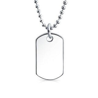 Bling Jewelry Childrens Classic Petite .925 Sterling Silver Dog Tag Necklace