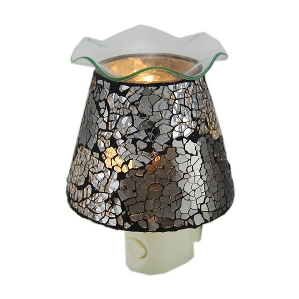 Crackled Silver Mirrored Glass Plug In Night Light Oil Warmer