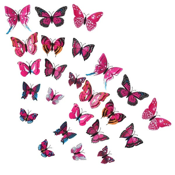 24pcs 3D Butterfly Wall Sticker Decal with Double Wings with Sticker Fushia