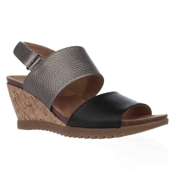 White Mountain Teller Slingback Wedge Sandals, Black Smooth - 7.5 us