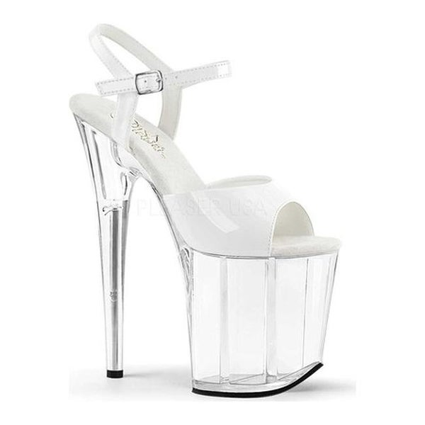 67922c1c4d Shop Pleaser Women's Flamingo 809 Ankle Strap Platform Sandal White Patent/ Clear - Free Shipping Today - Overstock - 14554438