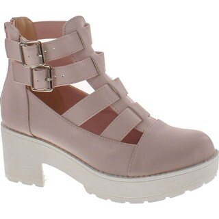 Qupid Womens Selfie-01 Faux Leather Gladiator Strappy Ankle Bootie - Pink