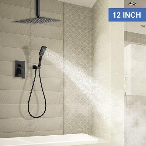 Rainlex Matt Black Ceiling-Mounted Dual Functions Shower System
