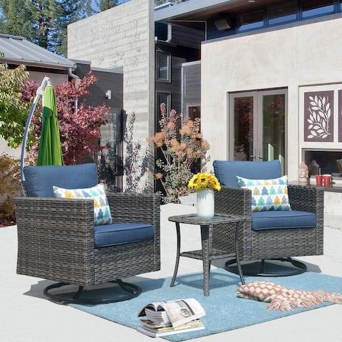 Ovios Patio Furniture Sets 3-piece Wicker Rocking Swivel Chair Sectional Sofa Set