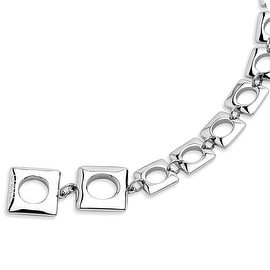 Chisel Stainless Steel Polished Squares 8.25 Inch Bracelet