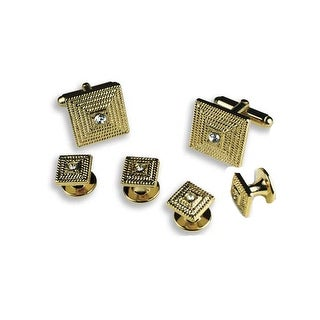 Gold Square with Clear Stone Center Cufflinks and Studs
