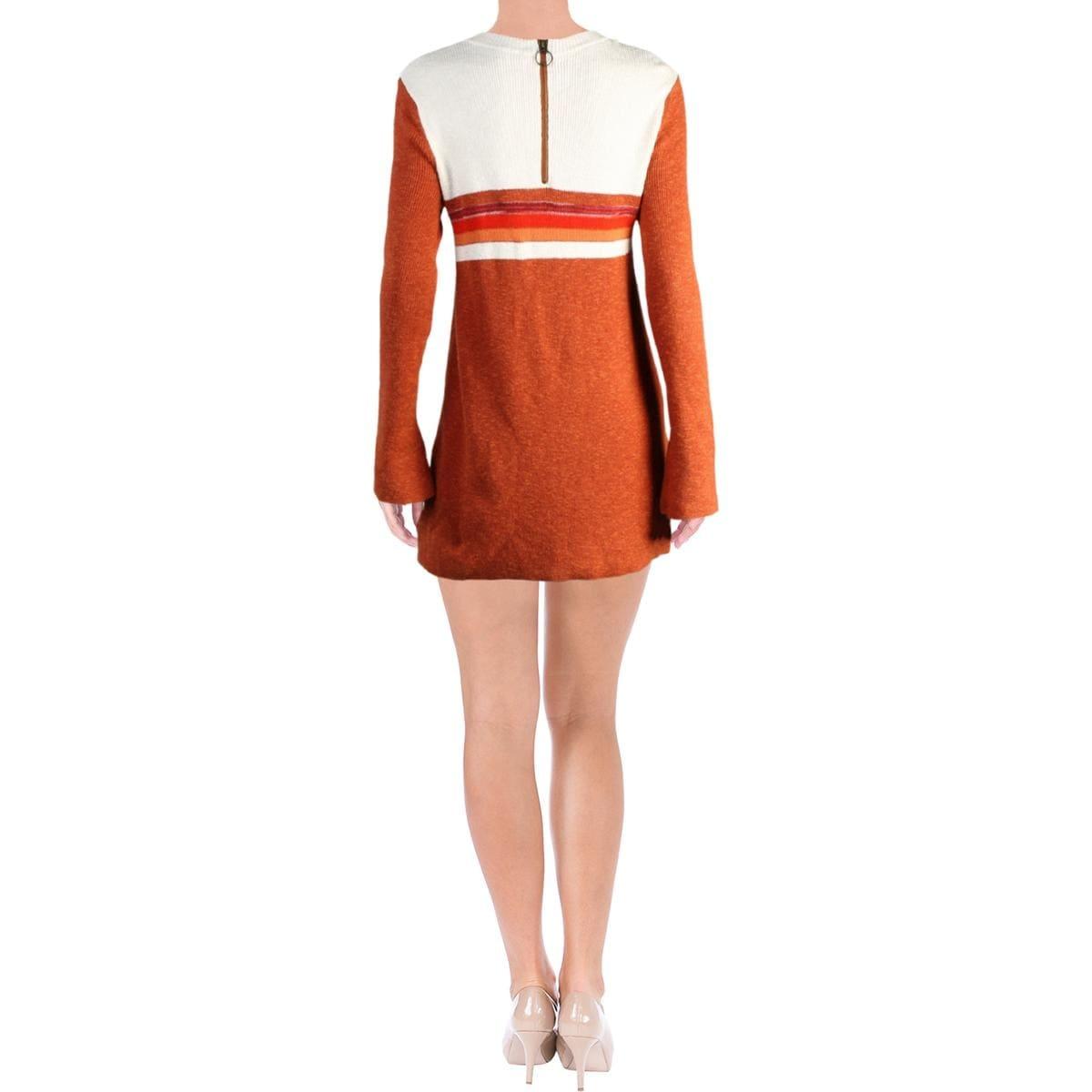 Shop Free People Womens Sweaterdress Linen Colorblock Overstock 17430023