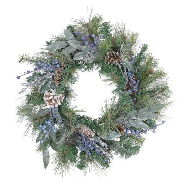 "24"" Mixed Pine, Blueberries and Snowy Pine Cones Artificial Christmas Wreath - Unlit - BLue"
