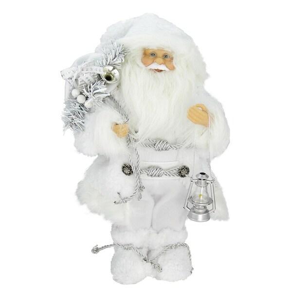 "12"" Elegant White Frost Standing Santa Claus Christmas Figure with Lantern"