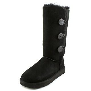 Ugg Australia Bailey Button Triplet ll Women Round Toe Suede Black Winter  Boot