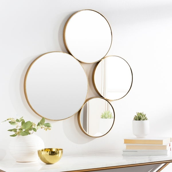 """Cohn Modern Gold Abstract Round Wall Mirror - 28""""H x 26""""W. Opens flyout."""