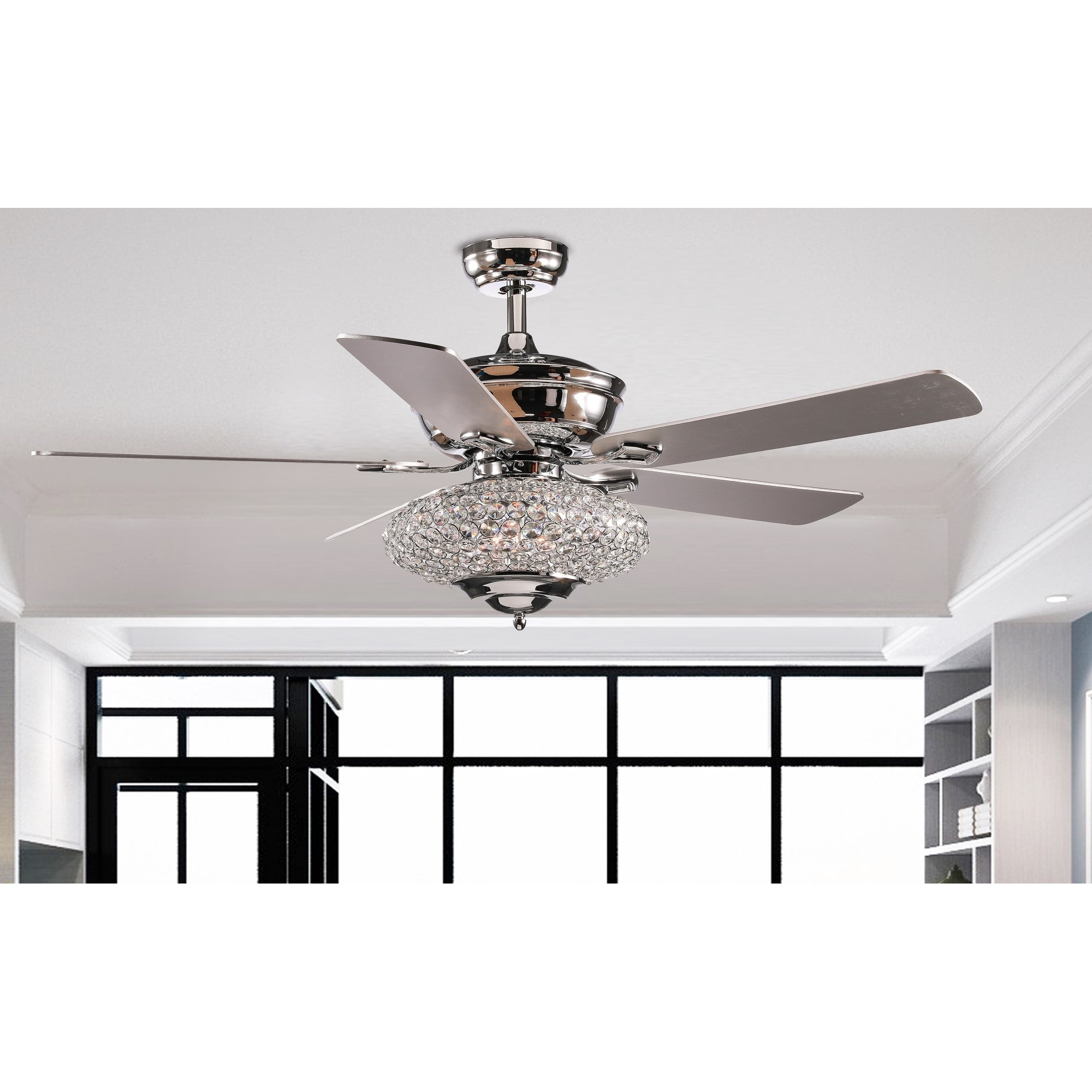 Shop 52 Deneb 5 Blade Crystal Ceiling Fan With Remote Control And Light Kit Included Overstock 31964114