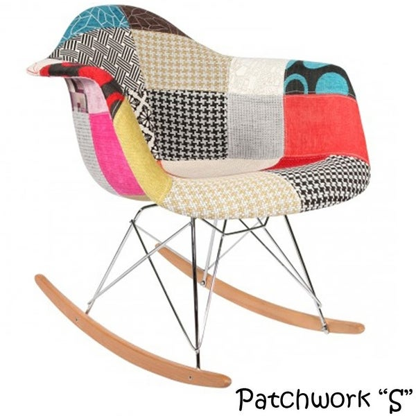 2xhome Modern Eames Rocking Chair Armchair With Arm Patchwork Fabric Natural Wood Rockers Dining