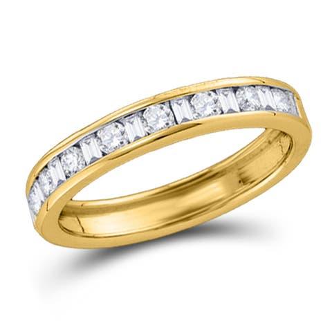 14k Yellow Gold Womens Machine Set Round Diamond Wedding Anniversary Band 1/4 Cttw