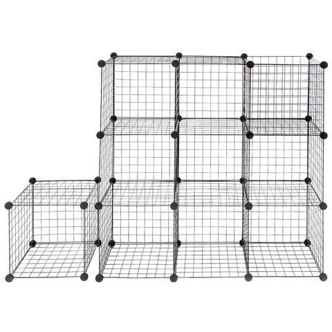 Costway 12 Cube Grid Wire Organizer Wardrobe Shelves Bookcase DIY