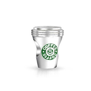 Bling Jewelry Travel Coffee Cup Green Charm Bead .925 Sterling Silver